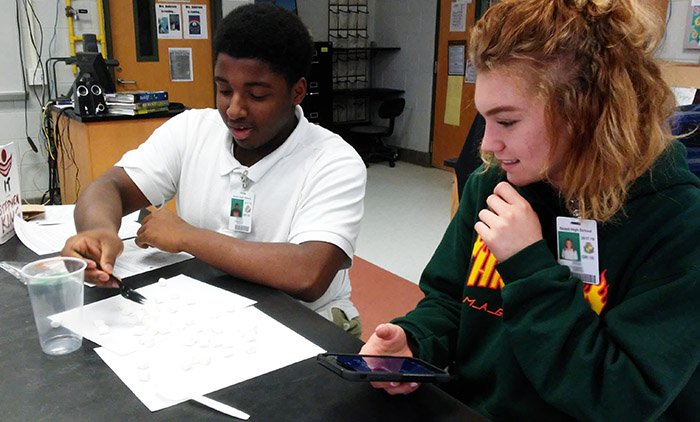 Biology I students investigate evolution by means of natural selection using marshmallows, spoons, and sporks.